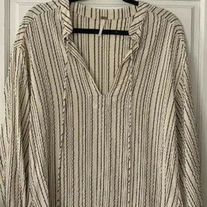 Free People Tassel Gray Striped Pullover Tunic